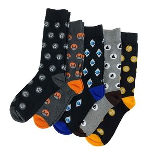 Mens Cryptocurrency Dress Socks Variety Pack of 5